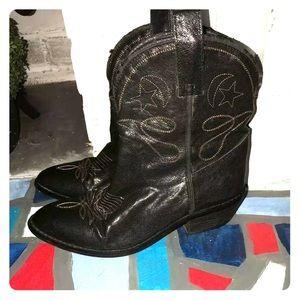 N.Y.L.A • Sz 7 • Leather •Cowboy • Booties • Black